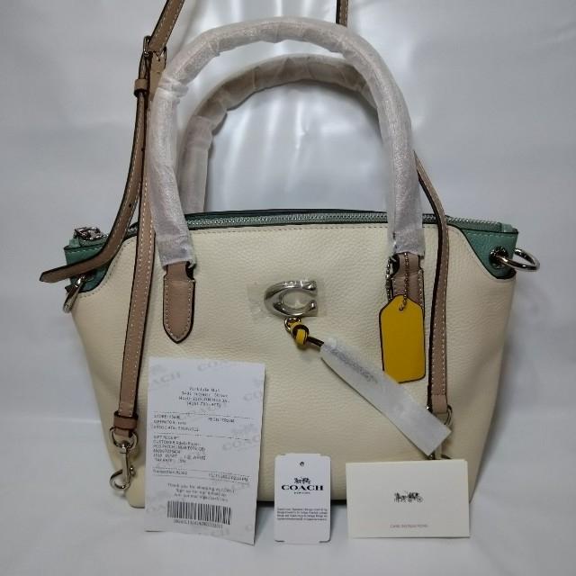 COACH(コーチ)のCOACH  バッグ 2way ホワイト&エメラルドグリー COACHエンブレム レディースのバッグ(ハンドバッグ)の商品写真