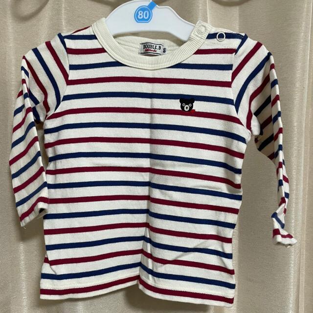 DOUBLE.B(ダブルビー)のミキハウス ダブルビー トップス Tシャツ ボーダー ロンT  80 キッズ/ベビー/マタニティのベビー服(~85cm)(Tシャツ)の商品写真