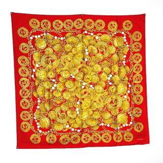 シャネル(CHANEL)の【SALE】シャネル スカーフ ココマーク チェーン柄 レッド ゴールド Q3(バンダナ/スカーフ)