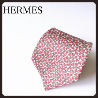 Hermes - 【おススメ!】HERMES エルメス ネクタイ シルク チェーン柄 総柄  赤