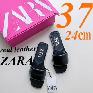 ザラ(ZARA)の【ZARA】37 PADDED FLAT LEATHER SANDAL レザー(サンダル)