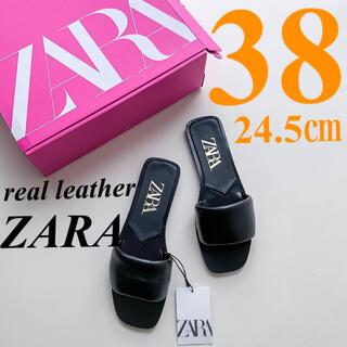 ZARA - 【ZARA】38 PADDED FLAT LEATHER SANDAL レザー