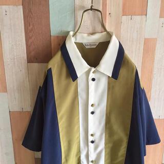 ART VINTAGE - BE 古着 デザインシャツ 切り替え ゆったり 多ボタン ポリエステル