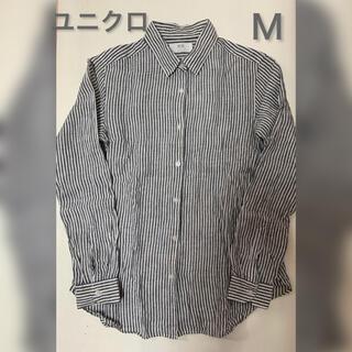 ユニクロ(UNIQLO)のユニクロ リネン ストライプTシャツ Mサイズ(Tシャツ(長袖/七分))