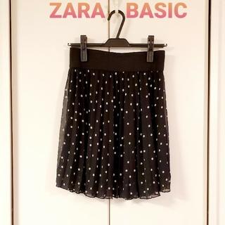 ザラ(ZARA)のZARA BASIC ドット スカート   美品(ひざ丈スカート)