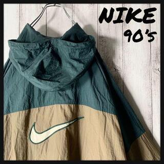 NIKE - 【白タグ 90s】ナイキ NIKE 両面 刺繍ロゴ ナイロンアノラック 緑茶