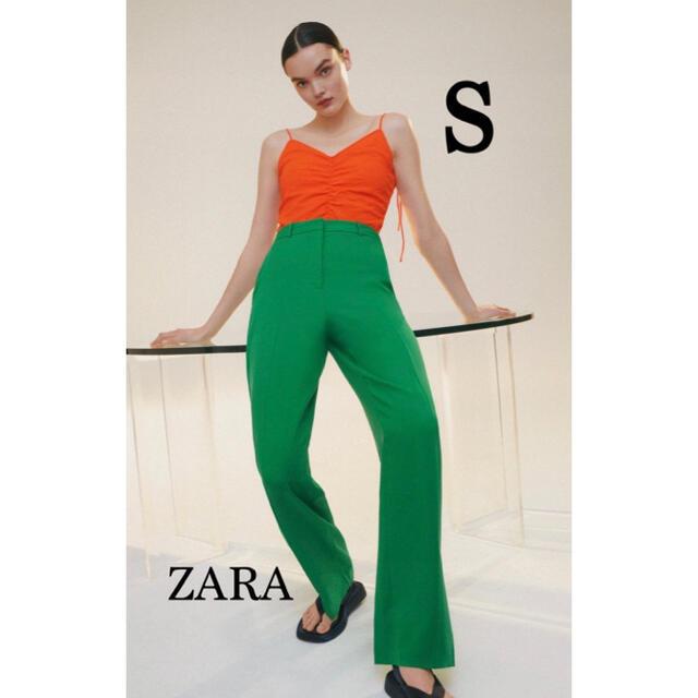 ZARA(ザラ)の新品未使用タグ付き ZARA ザラ マスキュリンワイドレッグパンツ グリーン レディースのパンツ(カジュアルパンツ)の商品写真