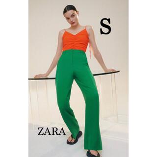 ZARA - 新品未使用タグ付き ZARA ザラ マスキュリンワイドレッグパンツ グリーン