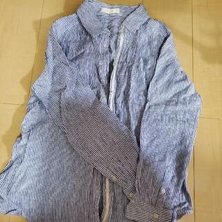 エニィスィス(anySiS)のanySiS 麻100%シャツ ストライプ ブルー M(シャツ/ブラウス(長袖/七分))