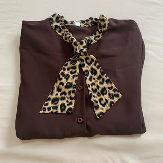 Lochie - 韓国 blouse ヒョウ柄 ブラウン