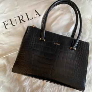 Furla - 【極美品・希少】フルラ ロータス ハンドバッグ クロコ型押し ブラック 保存袋付