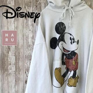ディズニー(Disney)のディズニー ミッキーマウス プリントパーカー プルオーバー ビック ホワイト(パーカー)