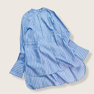 ENFOLD - エンフォルド/ストライプ シャツ ブラウス ブルー系 コットン100% 38