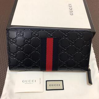 グッチ(Gucci)の未使用★グッチ GUCCI長財布 ラウンドファスナー ネイビー正規品(長財布)