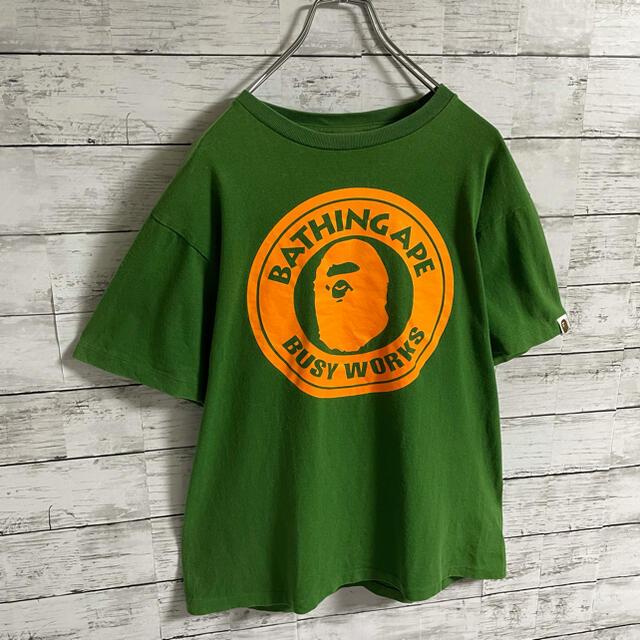 A BATHING APE(アベイシングエイプ)の【超人気カラー】アベイシングエイプ☆ビッグロゴ 猿ロゴ グリーン 半袖Tシャツ メンズのトップス(Tシャツ/カットソー(半袖/袖なし))の商品写真