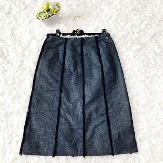 シャネル(CHANEL)の美品 CHANEL シャネル デニム フリンジ スカート シャネル プレート(ひざ丈スカート)