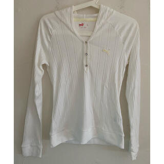 プーマ(PUMA)のPUMA プーマ フード レディース ゴルフシャツ 白 サイズL(ウエア)