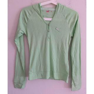 プーマ(PUMA)のPUMA プーマ フード レディース ゴルフシャツ グリーン サイズM(ウエア)