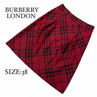 バーバリー(BURBERRY)のBURBERRY LONDON バーバリーロンドン スカート 赤 チェック 38(ひざ丈スカート)