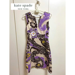 kate spade new york - ■美品■kate spade new yorkキーネックノースリーブワンピース