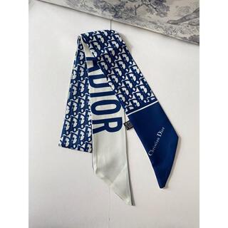 ディオール(Dior)のロゴ柄スカーフ ネイビーブルー(バンダナ/スカーフ)