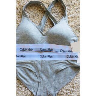 カルバンクライン(Calvin Klein)のSサイズ グレーブラと三角ショーツ (ブラ&ショーツセット)