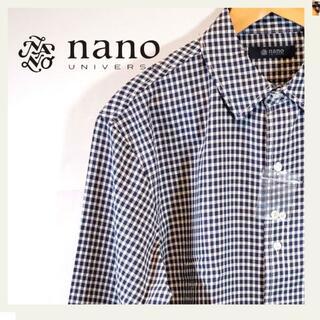 ナノユニバース(nano・universe)のnano・universeチェックBIGシルエットシャツ ロングスリーブ 紺 白(シャツ)