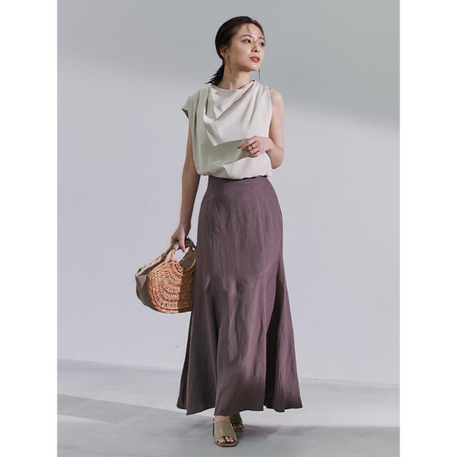Lily Brown(リリーブラウン)のanuans リネン混マーメードスカート brown sサイズ レディースのスカート(ロングスカート)の商品写真