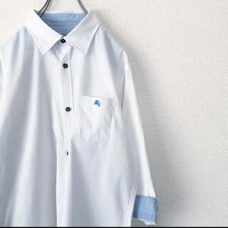 BURBERRY - BURBERRY BLACK LABEL / スタンダードシャツ ロゴ入り 白
