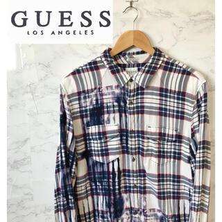 ゲス(GUESS)のGUESS ネルシャツ ムラ染め加工 チェックシャツ 長袖 L ゲス(シャツ)