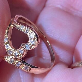 K18yg イェローゴールド 9号 ダイヤハートモチーフリング(リング(指輪))