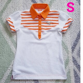 プーマ(PUMA)のプーマゴルフレディース白×オレンジポロシャツ(ウエア)