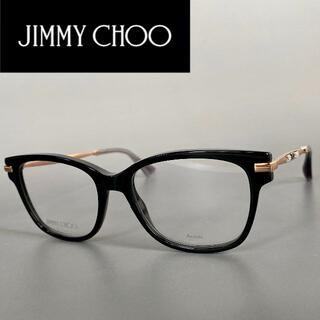 ジミーチュウ(JIMMY CHOO)のジミーチュウ ブラック ゴールド スクエア メガネ JC 黒 金 度入り 黒縁(サングラス/メガネ)