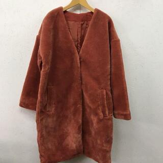 メルロー(merlot)の美品 merlot メルロー ノーカラー フェイク ムートン コート(ロングコート)