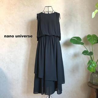 nano・universe - 【美品】ナノユニバース バックリボンアシメトリーワンピース