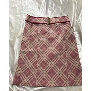 バーバリーブルーレーベル(BURBERRY BLUE LABEL)のバーバリーブルーレーベル ピンクノバチェック ベルト付き スカート サイズ38(ひざ丈スカート)