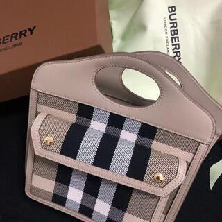 バーバリー(BURBERRY)のバーバリー ミニ ツートン キャンバス&レザー ポケットバッグ ピンク(ハンドバッグ)