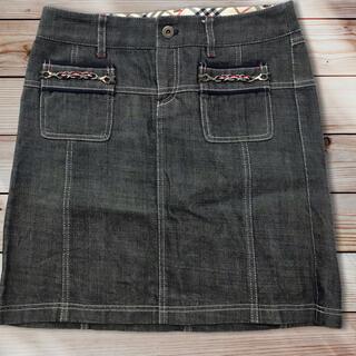 バーバリーブルーレーベル(BURBERRY BLUE LABEL)の未使用 バーバリーブルーレーベル デニムスカート  25インチ(ひざ丈スカート)