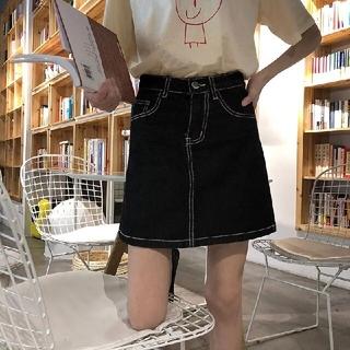 ゴゴシング(GOGOSING)の韓国 デニムスカート ブラック 黒 ミニスカート 新品未使用(ミニスカート)