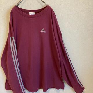 adidas - 90s アディダス XL  ロンT Tシャツ バーガンディ USA製 ゆるだぼ