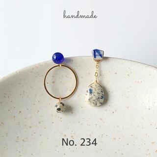 No.234 シー陶器とガラス K2ブルー ドロップ ピアス/イヤリング