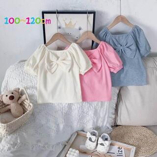 韓国子供服 フロントリボン 半袖トップス 100 110 120 夏(Tシャツ/カットソー)