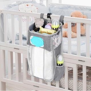 ベビーベッド収納袋 多機能吊り袋 オムツ収納 小物収納ケース 折りたたみ(ベビーおむつバッグ)