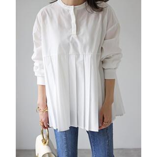 Bonjour sagan プリーツ 切替バンドカラーシャツ ホワイト