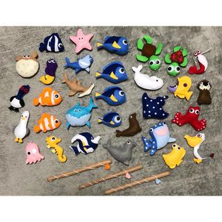 ハンドメイド 手作り さかなつり 魚釣り 31匹 おもちゃ フェルト 中古(その他)