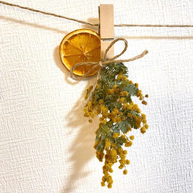 ドライフラワー スワッグ ガーランド ミモザ ラナンキュラス スターチス  ハンドメイドのフラワー/ガーデン(ドライフラワー)の商品写真