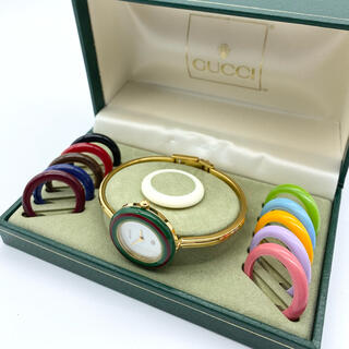 Gucci - GUCCI 新品電池 チェンジベゼル Mサイズ レディース腕時計