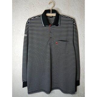 ダンロップ(DUNLOP)のo2990 美品 ダンロップ 長袖 ボーダー ポロシャツ 部分メッシュ(ポロシャツ)