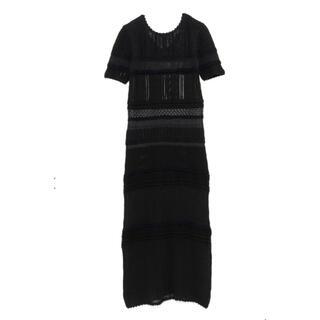 mame - CASAFLAIN クロシェレースドレス ブラック