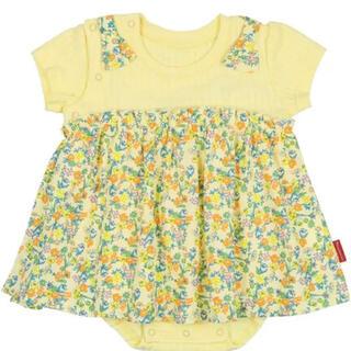 ムージョンジョン(mou jon jon)のムージョンジョン ロンパース 70cm 花柄 黄色 半袖 夏服(ロンパース)